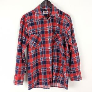 Vintage Dickies Red Blue Cotton Flannel Shirt Lg